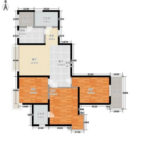 春晓馨苑3室0厅2卫1厨128.00㎡户型图