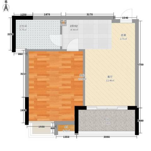 柏丽星寓1室0厅1卫0厨56.00㎡户型图