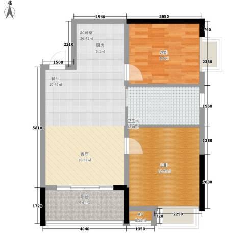 柏丽星寓2室0厅1卫0厨70.00㎡户型图