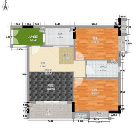 元邦明月水岸2室0厅1卫1厨82.00㎡户型图