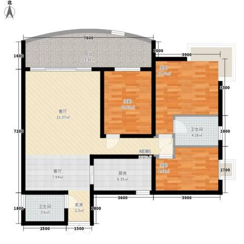 洲际半岛新城3室0厅2卫1厨100.00㎡户型图