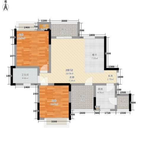 中凯翠海朗园2室0厅1卫1厨76.00㎡户型图