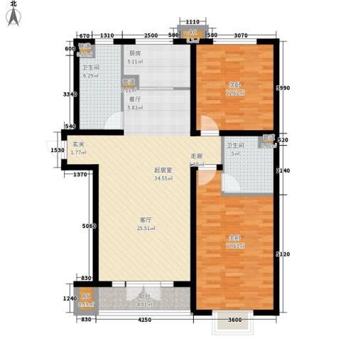 万翔・美域2室0厅2卫1厨124.00㎡户型图