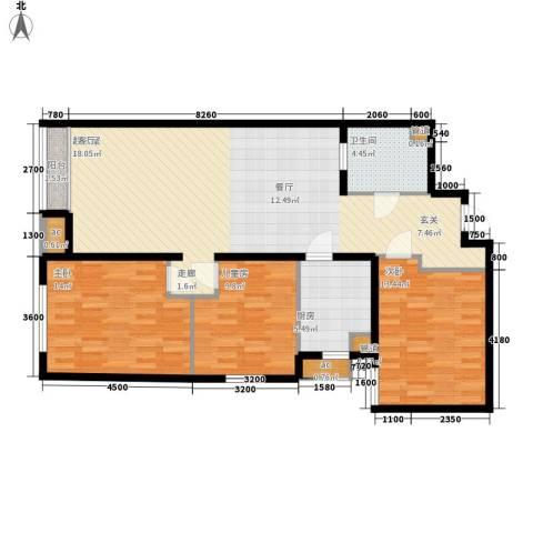 阳光100城市丽园3室0厅1卫1厨126.00㎡户型图