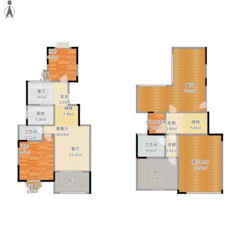 蓝湖西岸2室1厅2卫1厨147.00㎡户型图