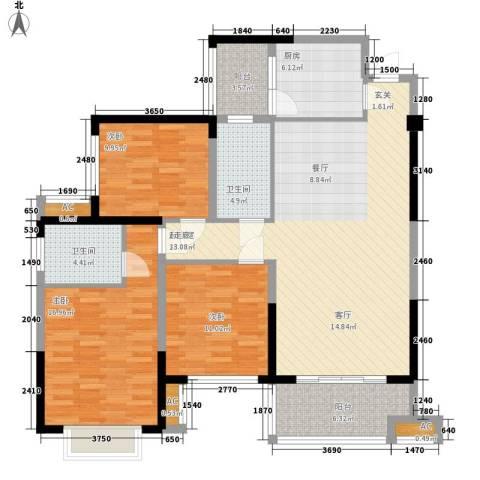 军安卫士花园3室0厅2卫1厨148.00㎡户型图