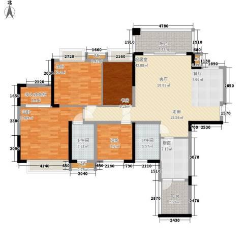 军安卫士花园4室0厅2卫1厨180.00㎡户型图