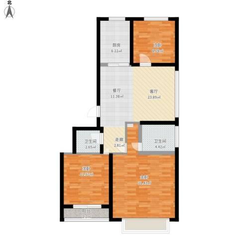 中央郡3室1厅2卫1厨116.00㎡户型图