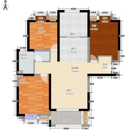 太阳都市花园3室0厅1卫1厨129.00㎡户型图