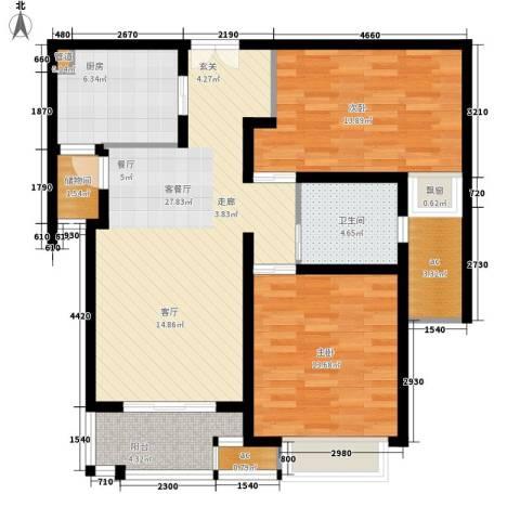 中海万锦城2室1厅1卫1厨90.00㎡户型图