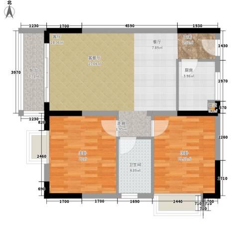 瑜然星座2室1厅1卫1厨88.00㎡户型图