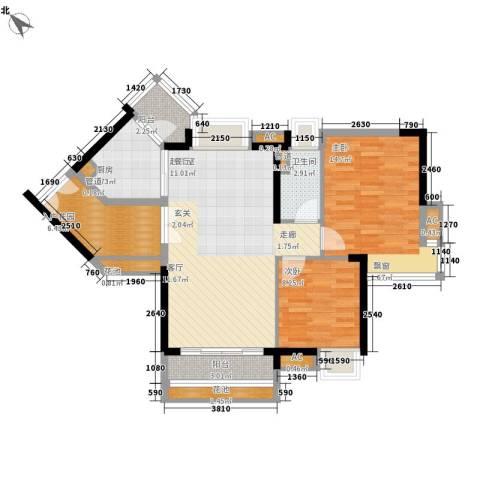 芙蓉春晓2室0厅1卫1厨84.00㎡户型图