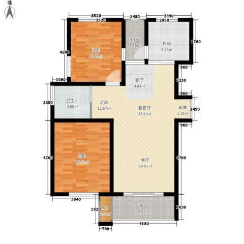 新港名墅花园2室1厅1卫1厨98.00㎡户型图