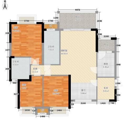 军安卫士花园3室0厅2卫1厨144.00㎡户型图