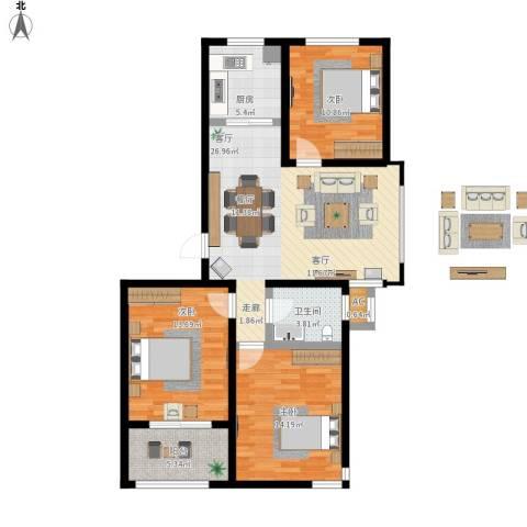 中央郡3室1厅1卫1厨116.00㎡户型图