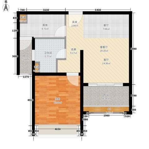 名馨花园1室1厅1卫1厨78.00㎡户型图