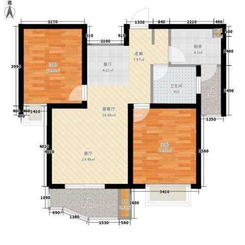 名馨花园2室1厅1卫1厨75.00㎡户型图