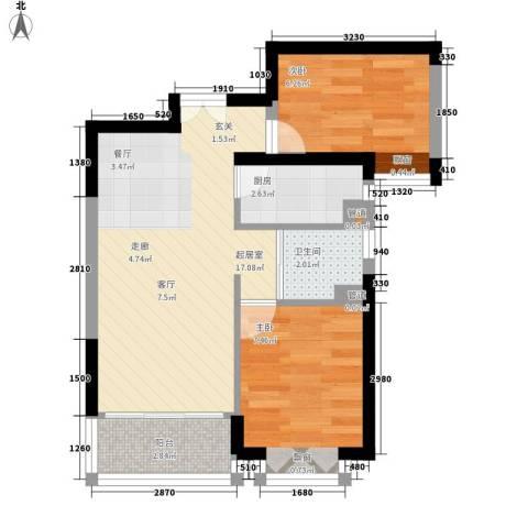 狮山峰汇2室0厅1卫1厨45.00㎡户型图