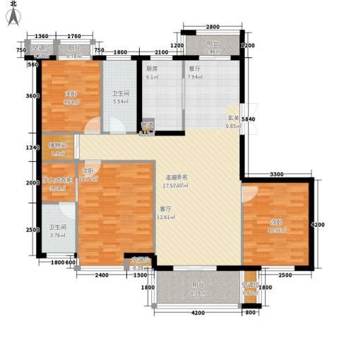 盛世香园3室0厅2卫1厨143.00㎡户型图
