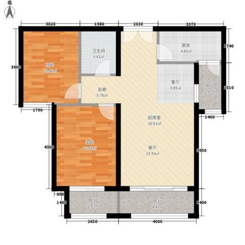 元和国际2室0厅1卫1厨81.76㎡户型图