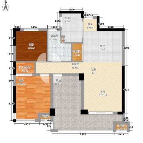 盛世香园2室0厅1卫1厨100.00㎡户型图
