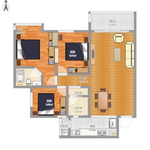 中天会展城3室1厅4卫1厨113.00㎡户型图