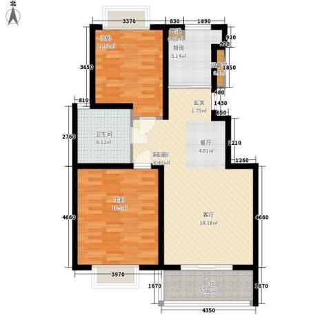 扬州印象花园2室1厅1卫1厨87.00㎡户型图