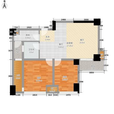 熙城国际2室0厅1卫1厨90.00㎡户型图