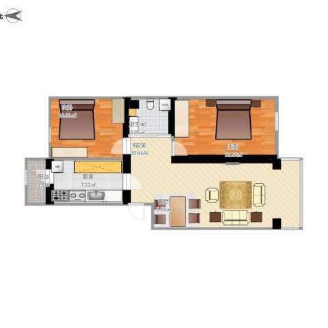 东方小区2室1厅1卫1厨92.00㎡户型图