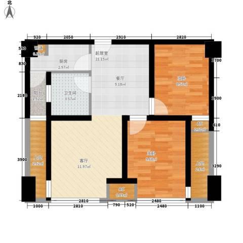熙城国际2室0厅1卫1厨75.00㎡户型图