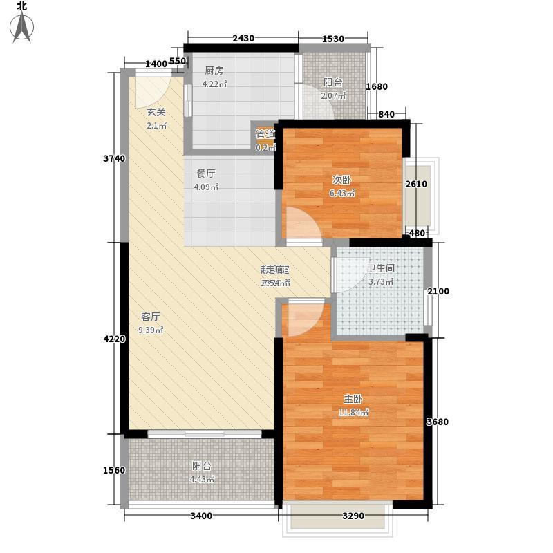 自由人花园73.00㎡二期洋房E1单元2室户型