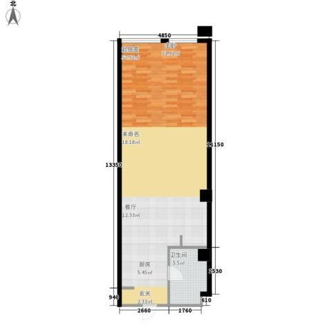 洪客隆第一街区1卫0厨69.00㎡户型图