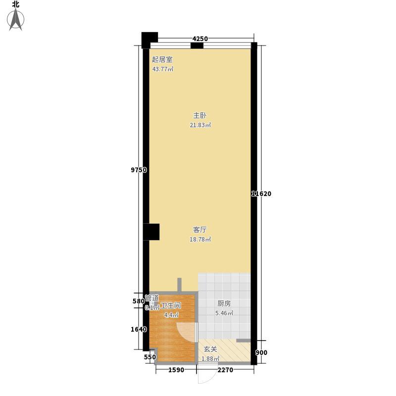 洪客隆第一街区53.44㎡A户型1室1厅1卫1厨