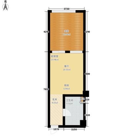 洪客隆第一街区1室0厅1卫0厨45.00㎡户型图