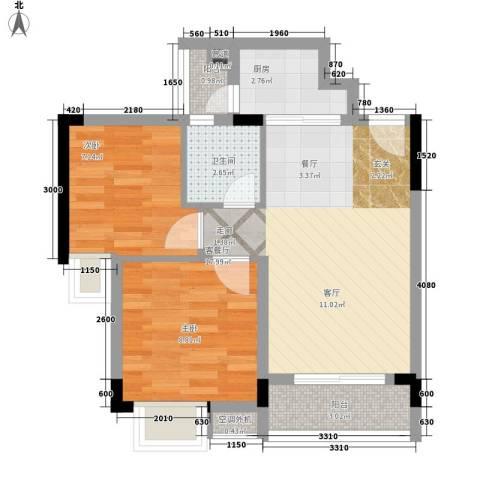 星座尚筑2室1厅1卫1厨50.00㎡户型图