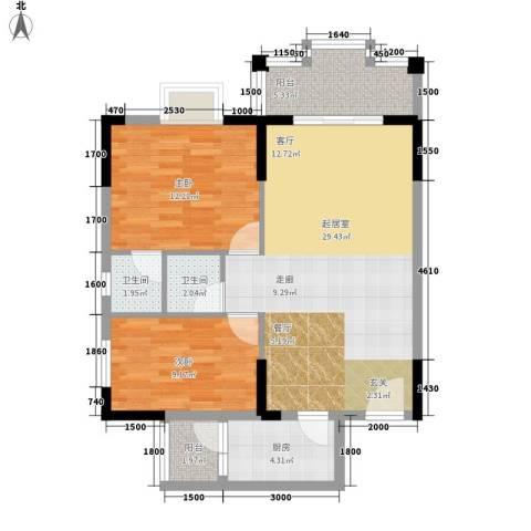 威斯登堡2室0厅2卫1厨93.00㎡户型图
