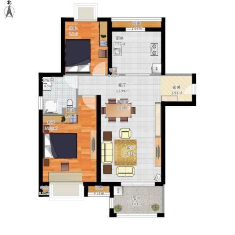 佳兆业1号2室1厅1卫1厨100.00㎡户型图