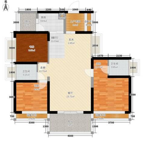 宝嘉上筑3室1厅2卫1厨120.00㎡户型图