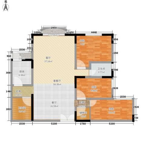 华竹小区3室1厅2卫1厨130.00㎡户型图