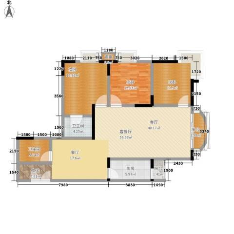 华竹小区3室1厅2卫1厨134.00㎡户型图