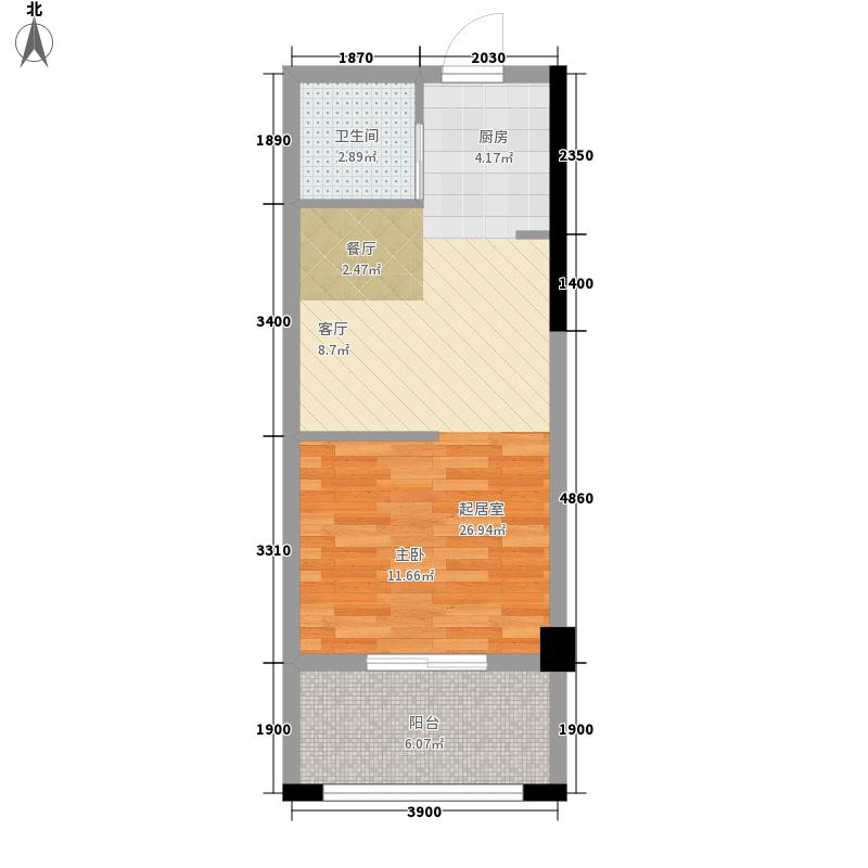 茶亭8号43.66㎡茶亭8号户型图单身公寓1室1厅1卫1厨户型1室1厅1卫1厨