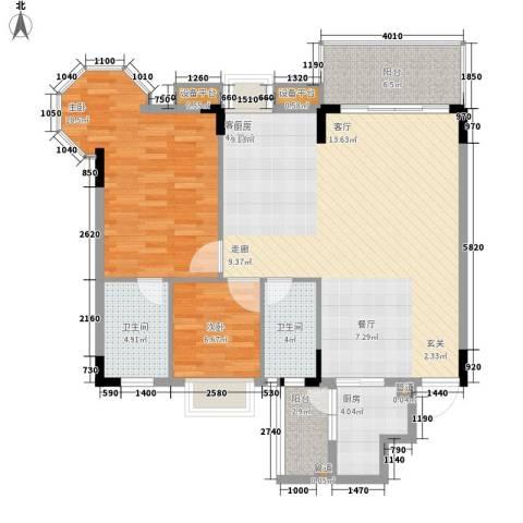 世纪康城2室1厅2卫1厨126.00㎡户型图