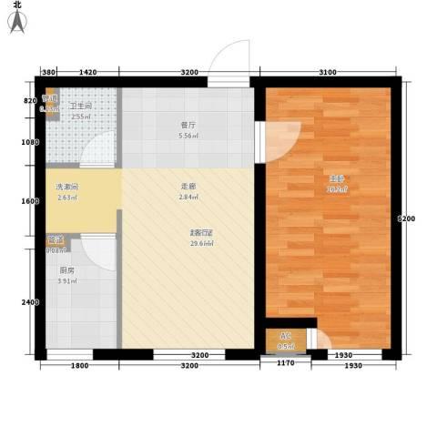 佳和新城六期1室0厅1卫1厨65.00㎡户型图
