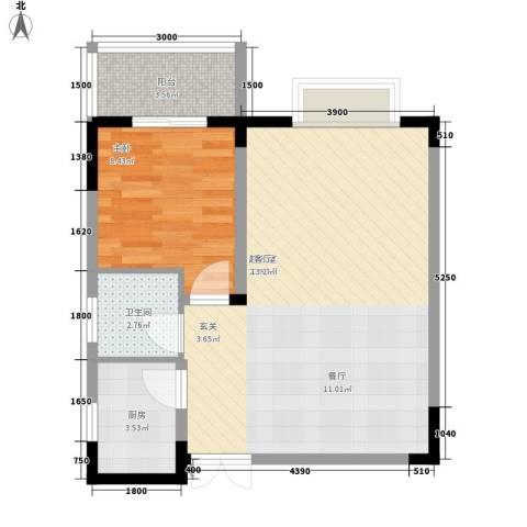 三重星都心1室0厅1卫1厨65.00㎡户型图