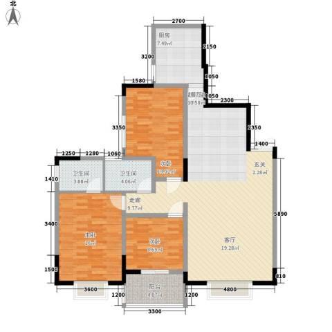 三重星都心3室0厅2卫1厨144.00㎡户型图