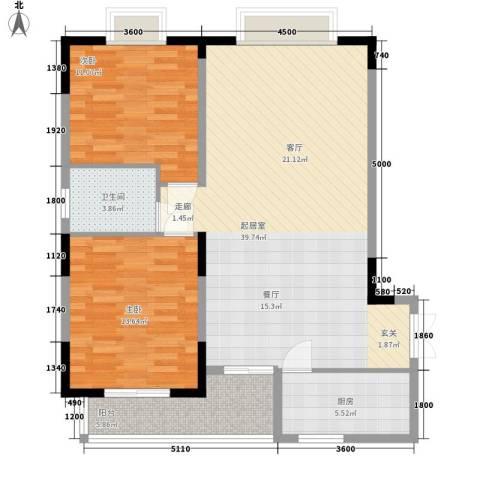 三重星都心2室0厅1卫1厨111.00㎡户型图