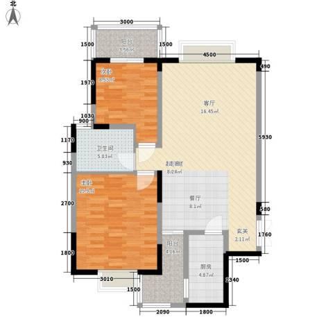 三重星都心2室0厅1卫1厨109.00㎡户型图