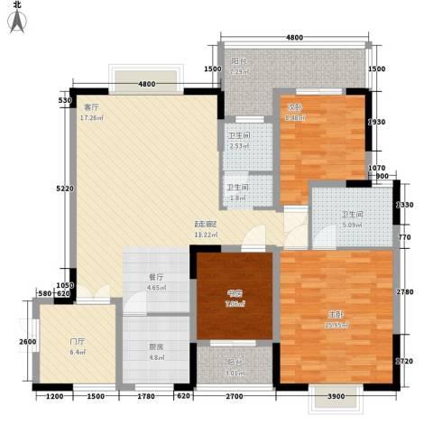三重星都心3室0厅2卫1厨136.00㎡户型图