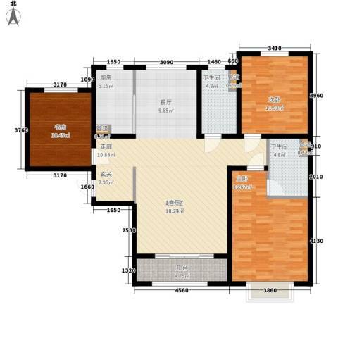 水榭花都3室0厅2卫1厨142.00㎡户型图