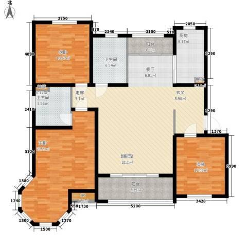 水榭花都3室0厅2卫1厨170.00㎡户型图